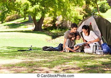 alegre, parque, campamento, familia