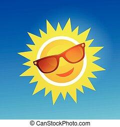 Alegre, sonriente sol de dibujos animados con gafas de sol en el fondo azul.