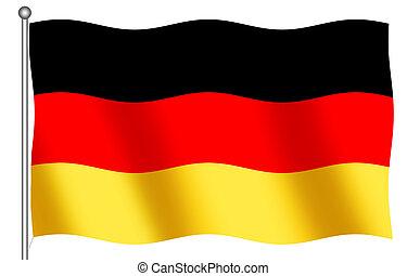 alemán, bandera ondeante