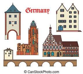 alemán, ciudad, alemania, señales, arquitectura, casas