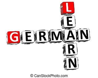 alemán, crucigrama, 3d, aprender