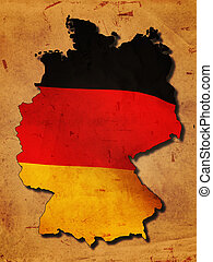 alemán, mapa, bandera