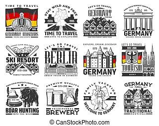 alemán, viaje, alemania, señales, vector, iconos