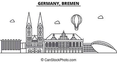 Alemania, Arquitectura Bremen, ilustración en línea aérea. Vector lineal Cityscape con puntos de referencia famosos, vistas de la ciudad, iconos de diseño. Landscape wtih derrames editables