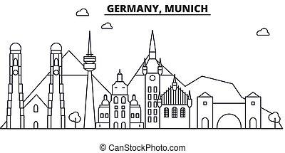 Alemania, línea de arquitectura de Munich ilustración en el horizonte. Vector lineal Cityscape con puntos de referencia famosos, vistas de la ciudad, iconos de diseño. Landscape wtih derrames editables