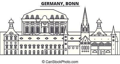 Alemania, línea de Bonn ilustración de vectores. Alemania, paisaje lineal Bonn con puntos de referencia famosos, paisajes de la ciudad, paisajes vectoriales.