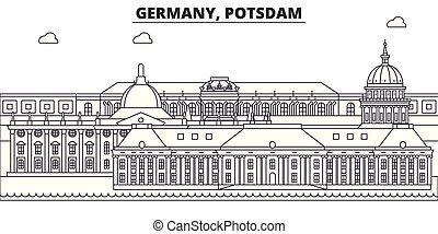 Alemania, línea Postdam iluminador vectorial. Alemania, el paisaje lineal de Postdam con puntos de referencia famosos, lugares de interés, paisajes vectoriales.