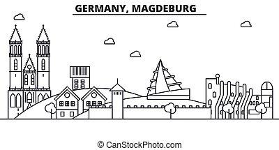 Alemania, la línea de arquitectura de Magdeburgo ilustración en el horizonte. Vector lineal Cityscape con puntos de referencia famosos, vistas de la ciudad, iconos de diseño. Landscape wtih derrames editables