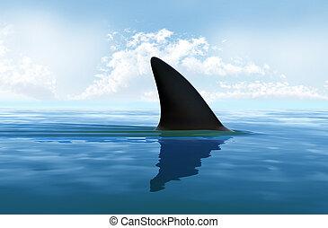 Aleta de tiburón sobre el agua