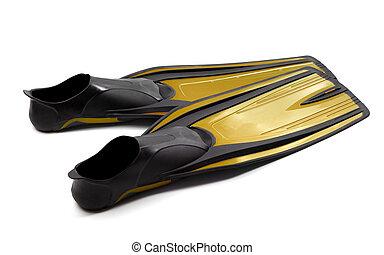 aletas de la nadada, amarillo