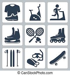 aletas, noria, vector, deportes, volante, set:, inmóvil, bienes, rodillo, ropa de deporte, bicicleta, raquetas, monopatín, patines, esquís, iconos, máscara, buceo
