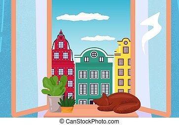 alféizar, flor, doméstico, plano, cómodo, habitación, relajar, vector, gato, europeo, aislado, olla, sueño, hogar, white., ilustración, paisaje, urbano