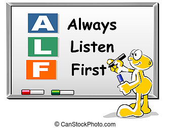 alf, always, whiteboard, siglas, escuchar, primero