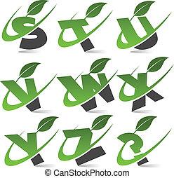 alfabeto, 3, conjunto, verde, swoosh