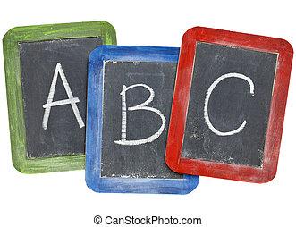 Alfabeto (A, B, C) en pizarras