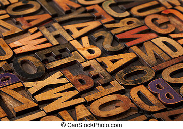 Alfabeto abstracto en bloques de impresión