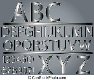 Alfabeto al estilo metálico
