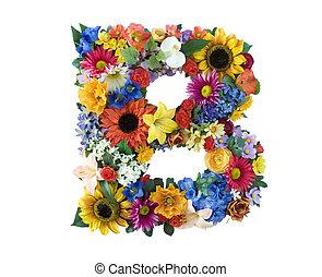 alfabeto, b, -, flor