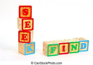 alfabeto, busque, hallazgo, bloque