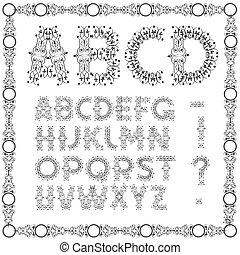 Alfabeto con espiral calígrafo