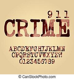 alfabeto, dígito, vector, criminal, resumen