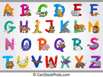 Alfabeto de cartón con ilustraciones de animales