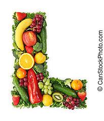 Alfabeto de frutas y verduras