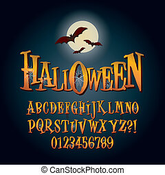 Alfabeto de Halloween tridimensional y vector digital
