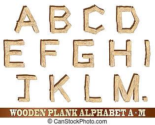 Alfabeto de madera a M