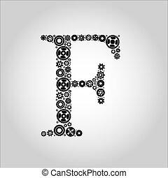 Alfabeto de silueta de engranaje, F