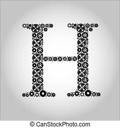 Alfabeto de silueta de engranaje, H