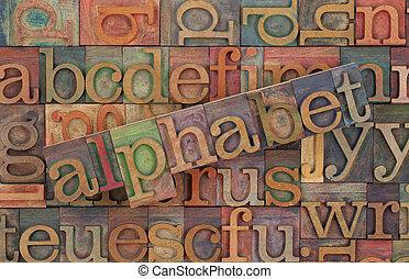 Alfabeto del tipo de madera