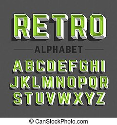 alfabeto, estilo retro