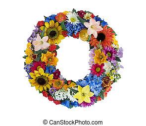 alfabeto, flor, -, o