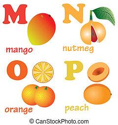 alfabeto, fruits., cartas, m-p