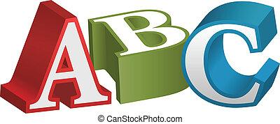 alfabeto, fuente, cartas, abc, enseñanza