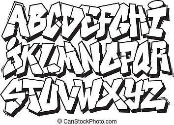 alfabeto, fuente, grafiti