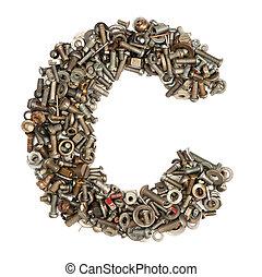Alfabeto hecho de tornillos