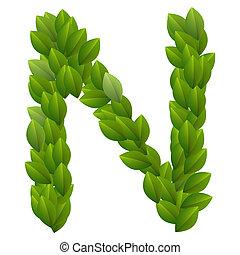 alfabeto, hojas, verde, carta n