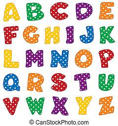 Alfabeto, lunares blancos