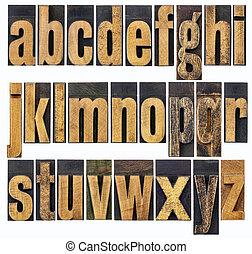 alfabeto, minúscula, madera, tipo