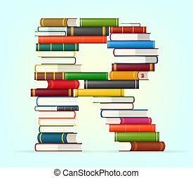 alfabeto, multi, libros, coloreado, pilas
