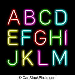 alfabeto, neón, brillo