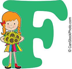 alfabeto, niña, f