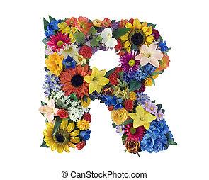 alfabeto, r, -, flor