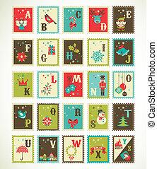 Alfabeto retro navideño con lindos iconos de vector xmas