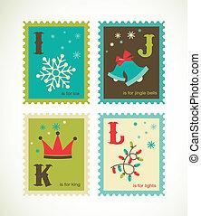 Alfabeto retro navideño con lindos iconos