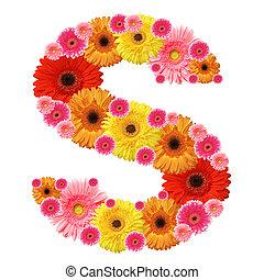 alfabeto, s, flor