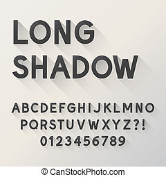 alfabeto, sombra, negrita, largo