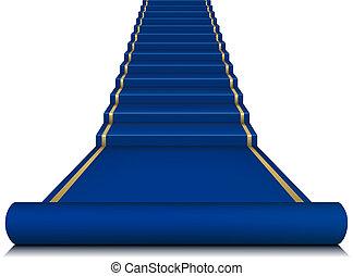Alfombra azul con escalera